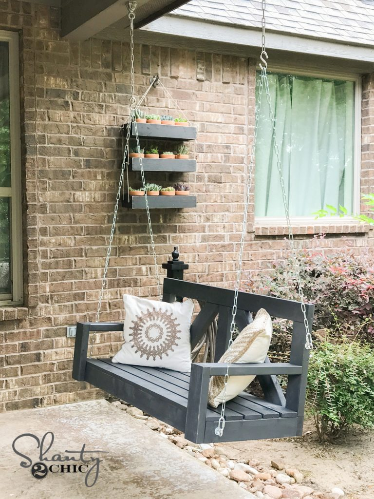 finished diy farmhouse porch swing