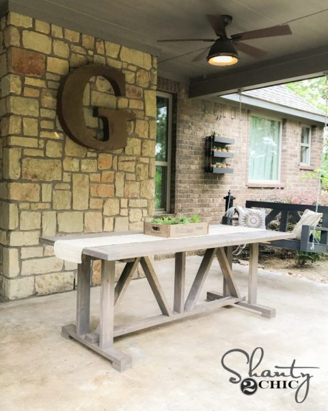 diy outdoor patio table DIY $60 Outdoor Dining Table - Shanty 2 Chic