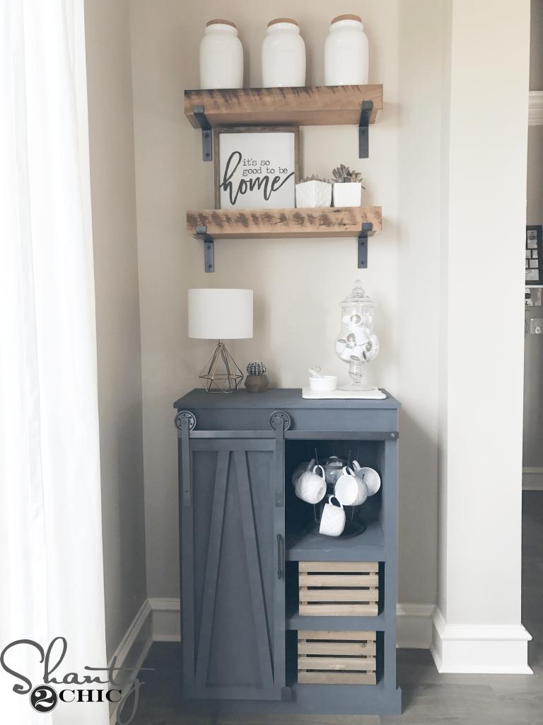 Diy Barn Door Coffee Cabinet A Great Solution For