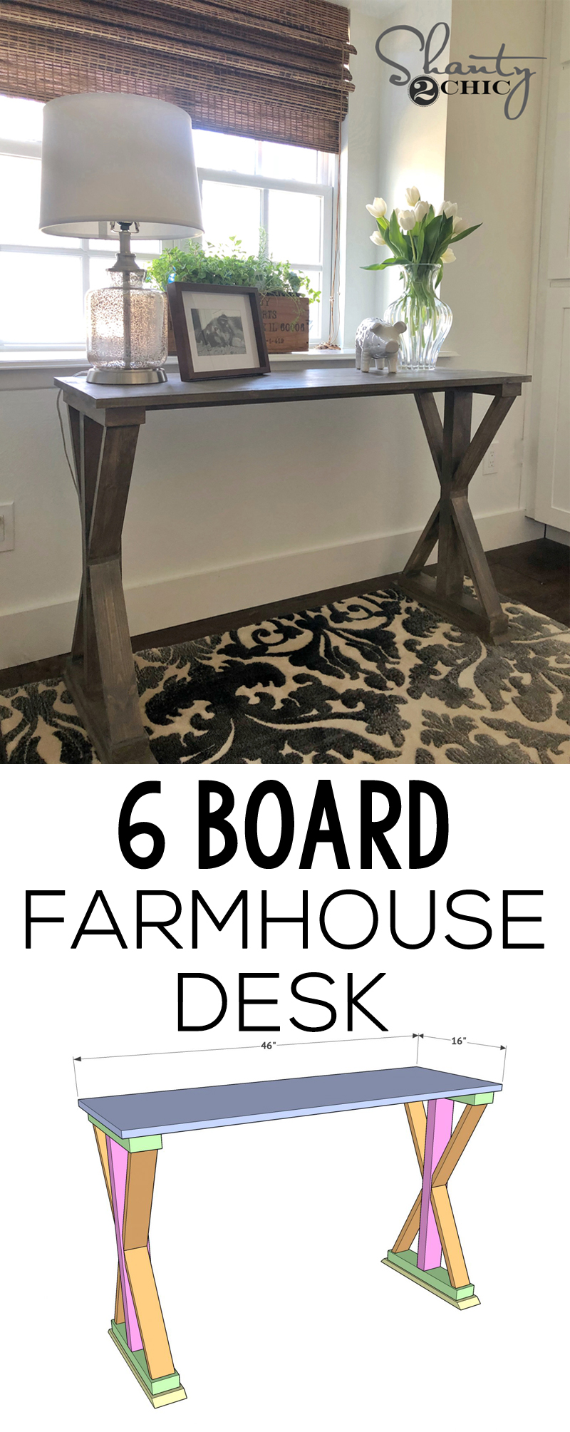 Diy 6 Board Farmhouse Desk Only 30 For This Diy Desk