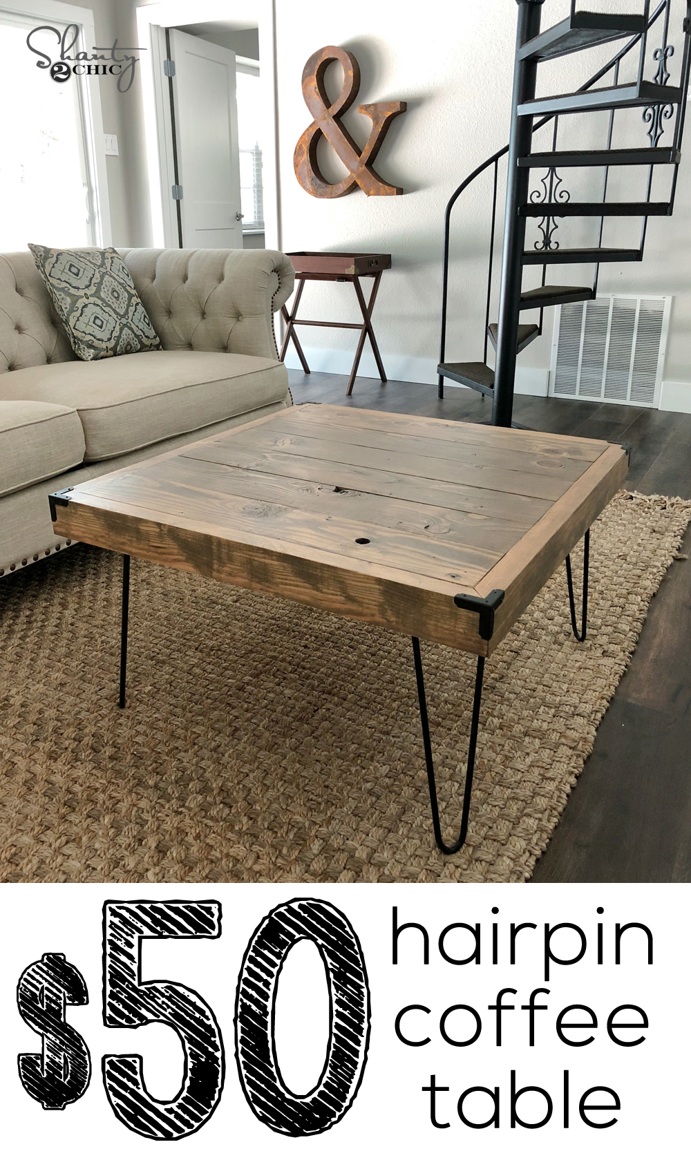 Square Hairpin Leg Coffee Table