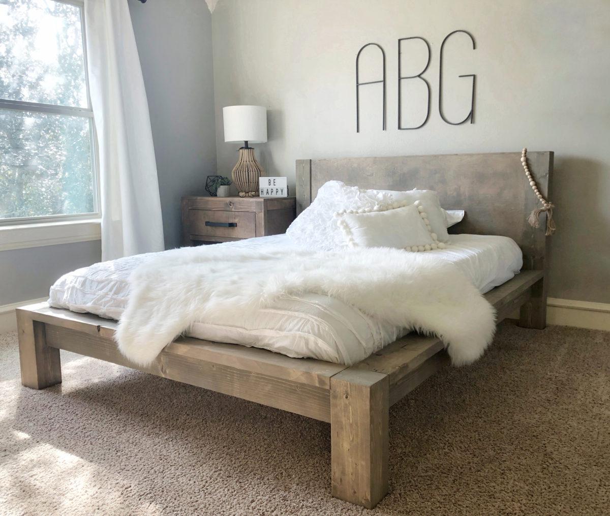 Diy Rustic Modern Queen Bed Shanty 2 Chic