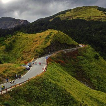 In this photo provided by PhotoSport International shows Taiwan KOM Challenge from the beach to the thin-air altitude of Mt. Hehuan, 3275 metres above sea levelTaiwan Rahim Emami and Amir Zargari (RTS Santic) break.
