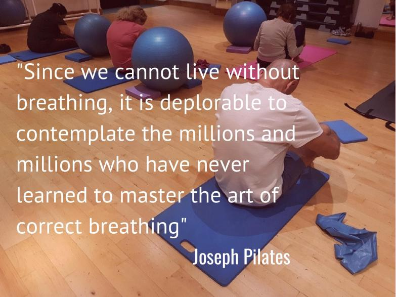 Pilates quote on learning to breath over image of people seated breathing