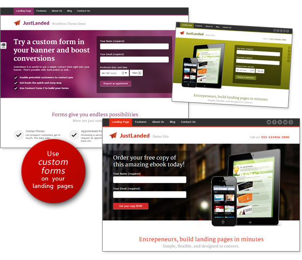 Custom Forms for the Landing Page Banner