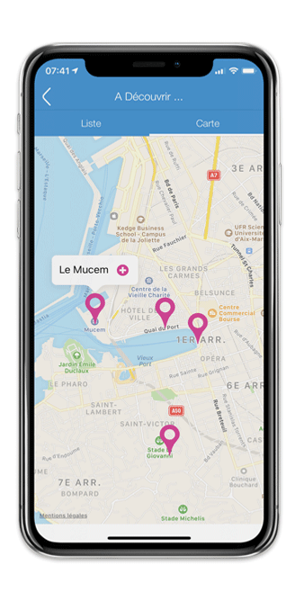 Application mobile avec carte