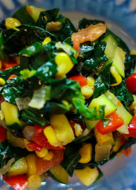 Sauteed Spinach with Vegetable Medley