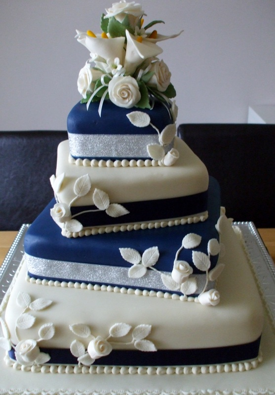 4 Tier Royal Blue Wedding Cake   shareacake me   ShareaCake me 4 Tier Royal Blue Wedding Cake