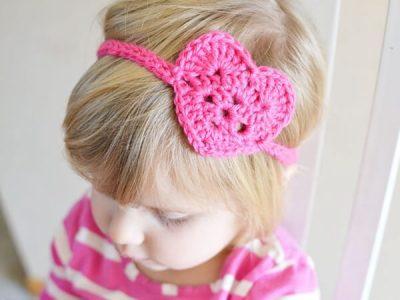 Kids crochet heart headwrap