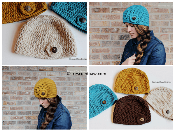 Womens Crochet Circle Button Hat