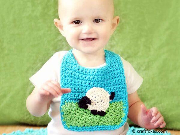 Baby Bib with Sheep Applique