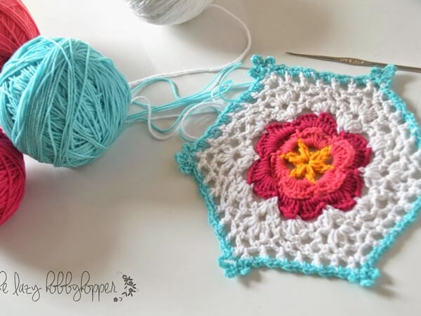 Hexagon with Flower