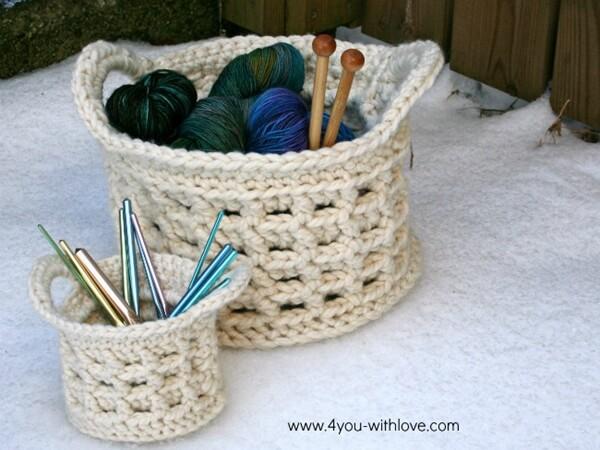 Large Raised Box Stitch Crochet Basket