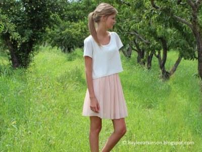 Pink Pleated Chiffon Skirt