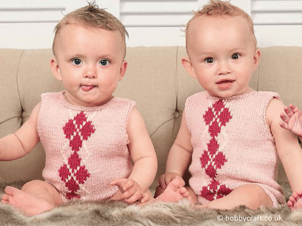 Diamond Baby Grow Knitting Pattern