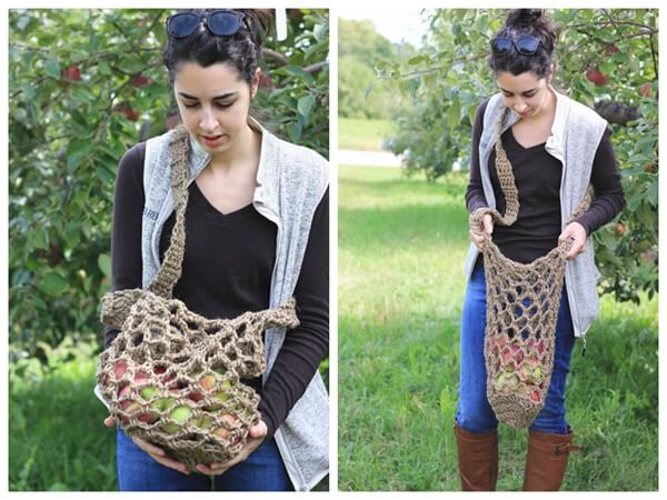 Twine Crochet Apple Bag