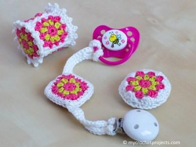 Crochet Baby Toy Set 'Granny Square'