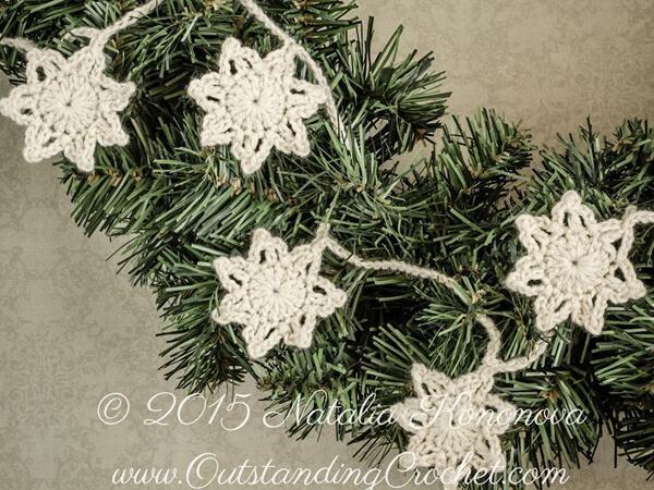Crochet Stars Vintage Christmas Garland