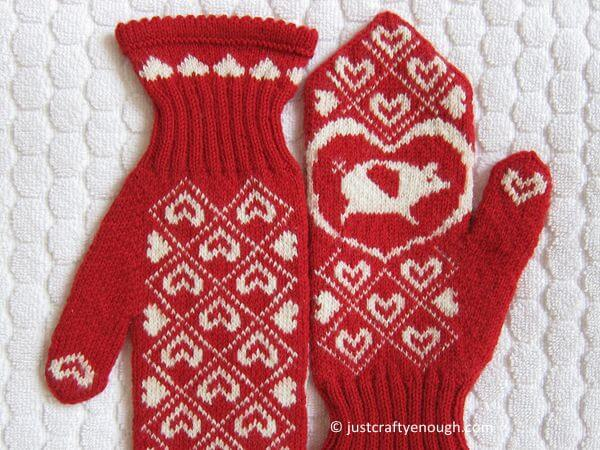 Knit Flying Pig Mittens