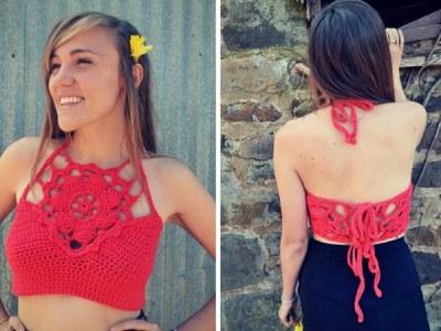 Crochet crop top flower halter pattern