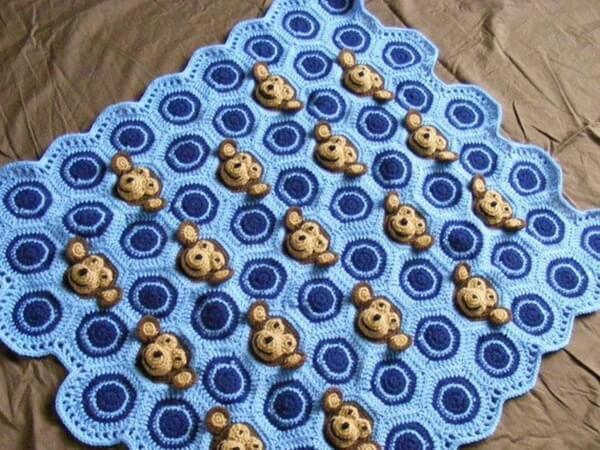 Navy Blue Monkey Blanket