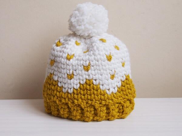Let it snow knit look hat