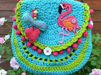 Flamingo crochet purse