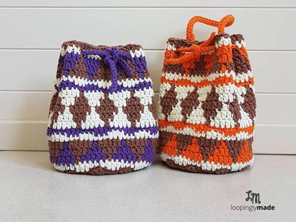 Native Print Drawstring Bag