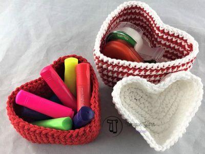 crochet Heart Shaped Nesting Baskets pattern