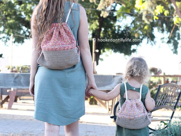 crochet Cam Drawstring Bag free pattern