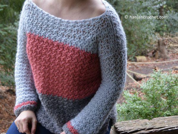 crochet Colour Block Jumper free pattern