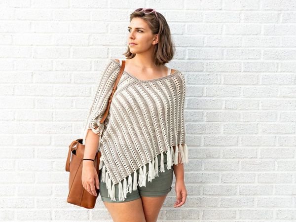 crochet Striped Duo Poncho free pattern