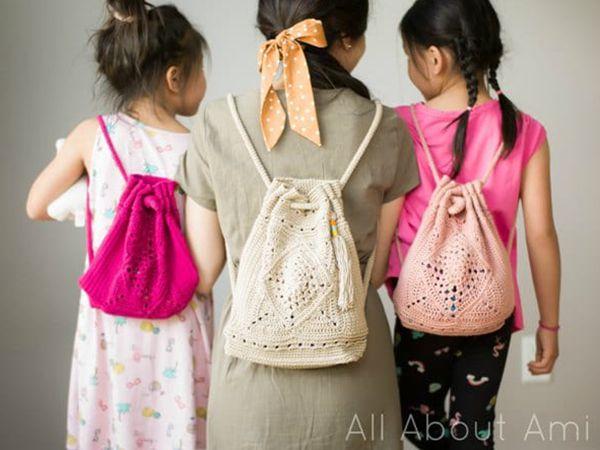 crochet Mini Wildrose Backpack free pattern