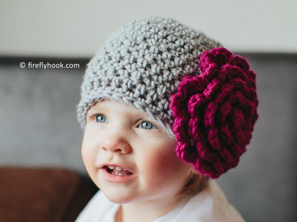 crochet Perfect Peony Beanie free pattern
