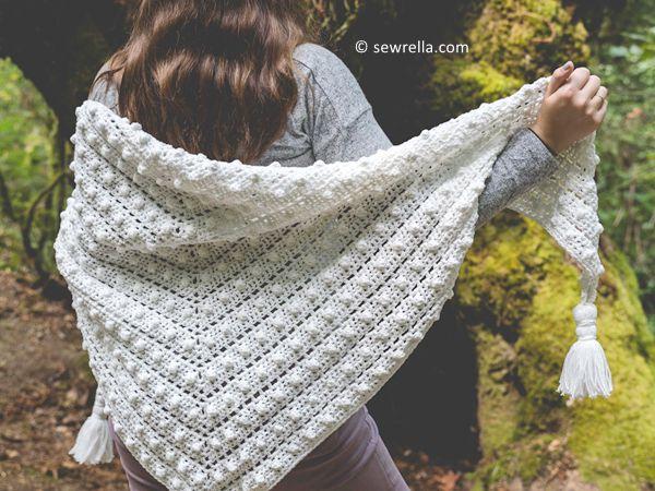 crochet Bobble Stitch Shawl free pattern