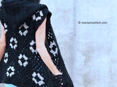 crochet Hooded Granny Square Vest free pattern