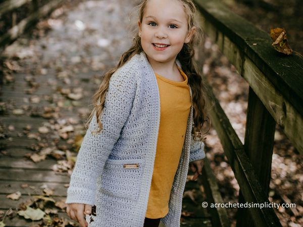 crochet Aurora Girls Cardigan free pattern