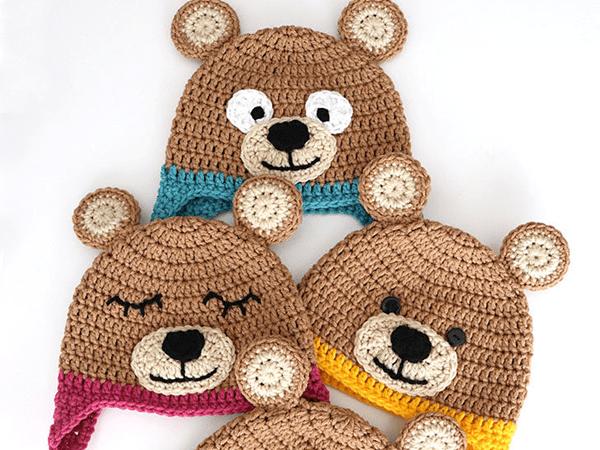 crochet Bernat Bear Hat free pattern