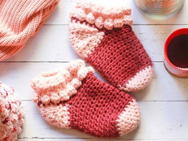 crochet Bobble Slipper Socks free pattern