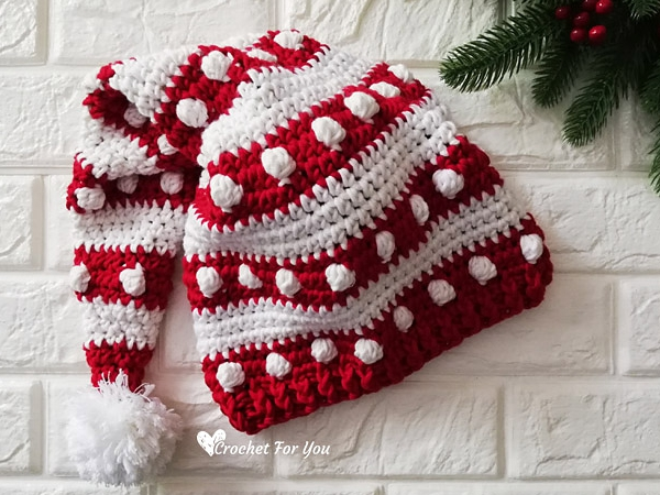 crochet Bobbles and Stripes Santa Hat free pattern