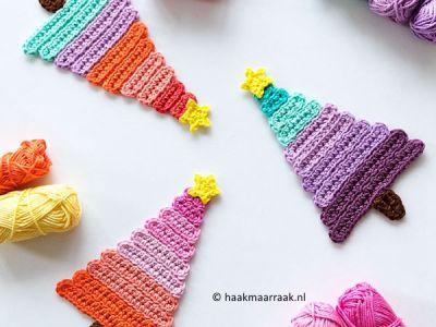 crochet Ice Pop Christmas Trees free pattern