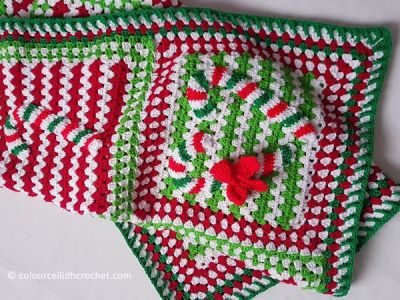 crochet Candy Cane Lane Afghan Blanket free pattern