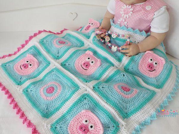 Crochet Piggy Blanket easy Pattern
