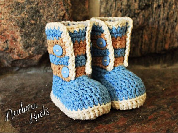 crochet Striped Button Up Booties easy pattern