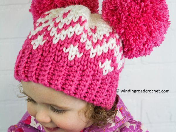 crochet Double Pom Pom Hat free pattern