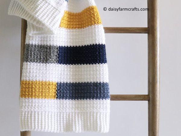 crochet Mesh Stitch Colorful Stripe Blanket free pattern