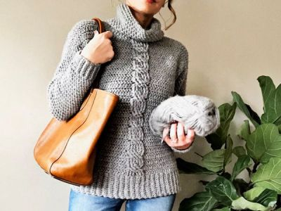 crochet The Ashlyn Cabled Sweater easy pattern