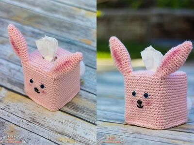 crochet Bunny Tissue Box Cover free pattern