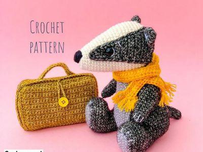 crochet Bill the Badger amigurumi easy pattern