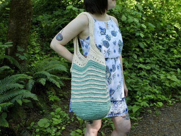 crochet Easy Striped Tote Bag free pattern